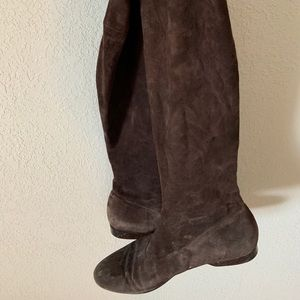 Robert Clergerie Shoes - Over the knee brown suede boots